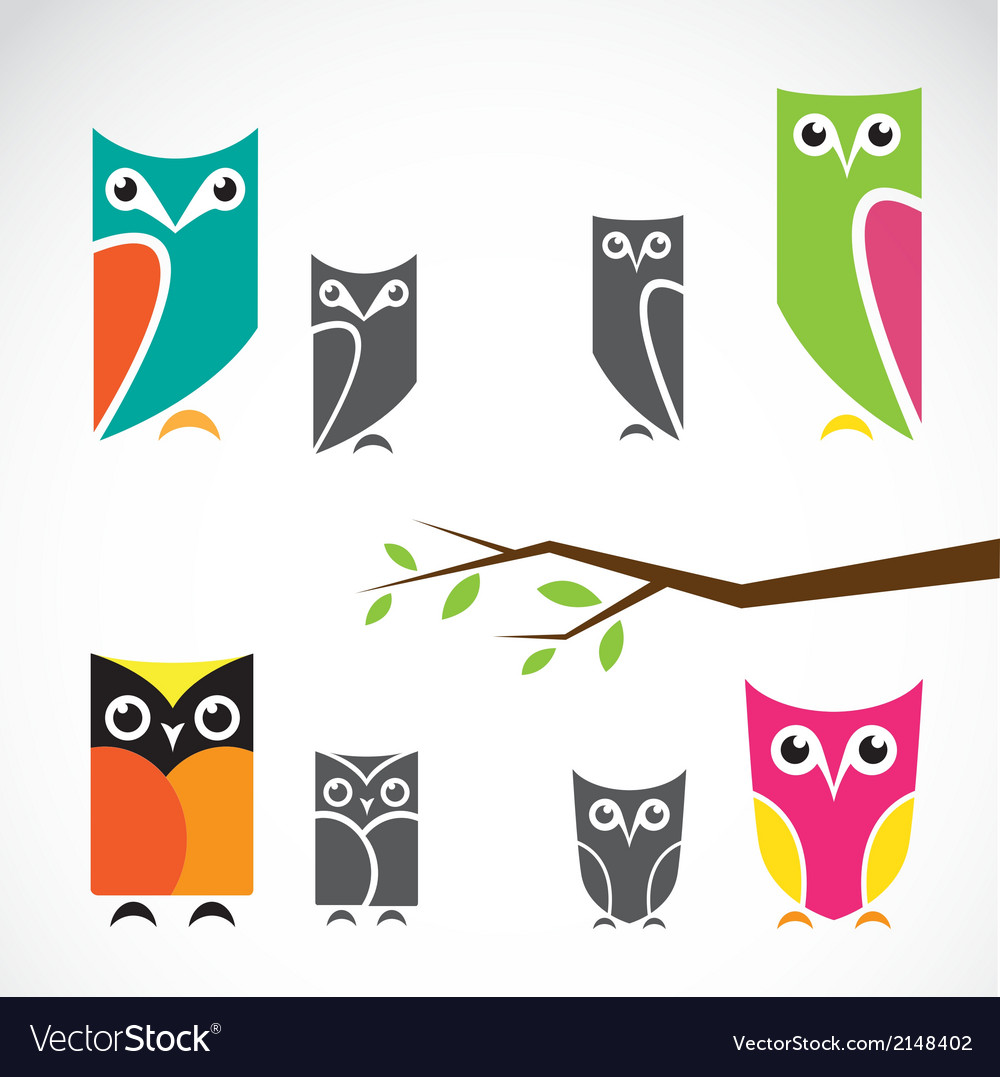 Group of owls and branch vector | Price: 1 Credit (USD $1)