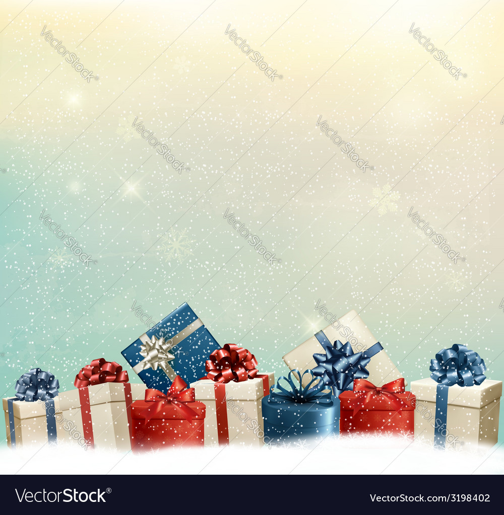 Holiday christmas background with a border of gift vector | Price: 1 Credit (USD $1)