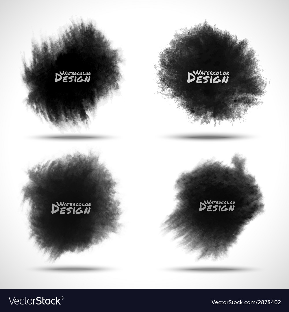 Set of black watercolor splatters vector | Price: 1 Credit (USD $1)