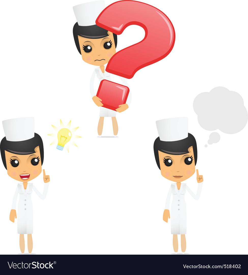 Set of funny cartoon nurse vector | Price: 1 Credit (USD $1)