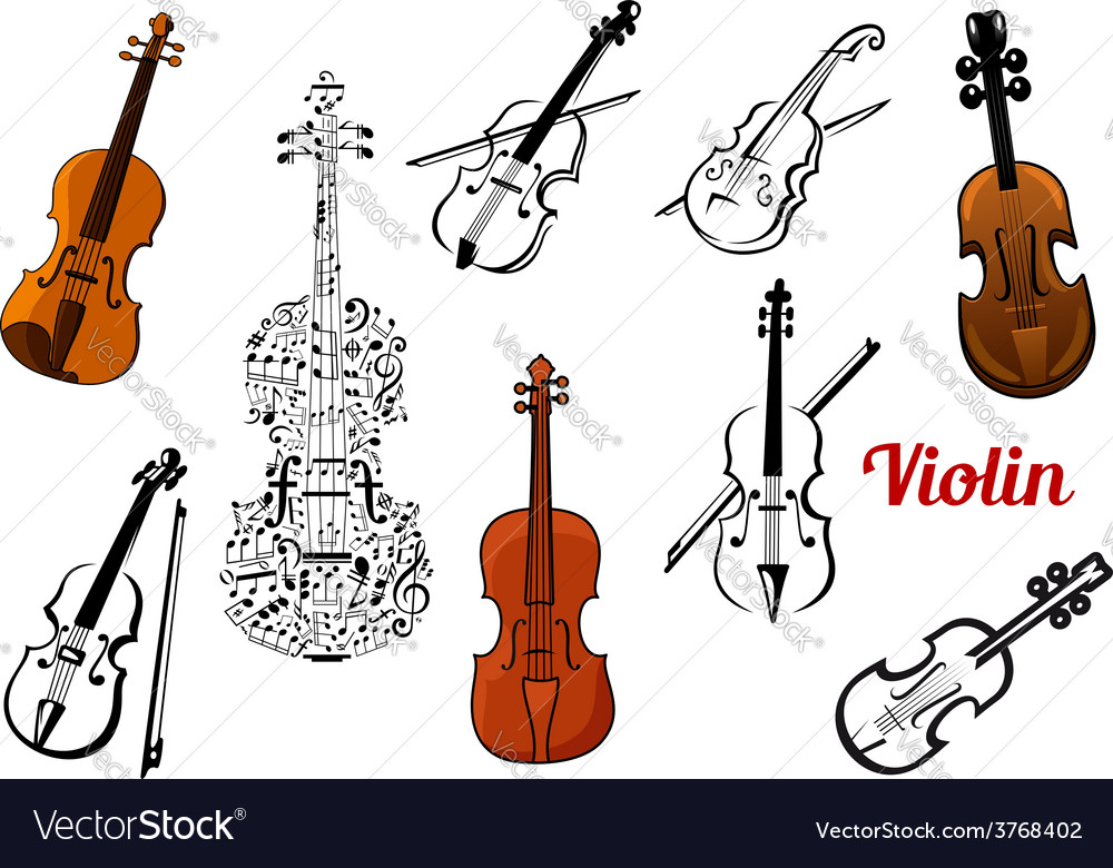 Violin music instruments set vector | Price: 1 Credit (USD $1)