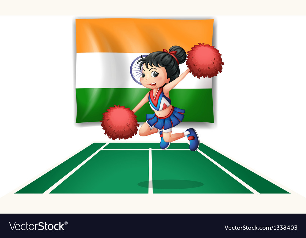 A cheerleader in front of the indian flag vector | Price: 1 Credit (USD $1)