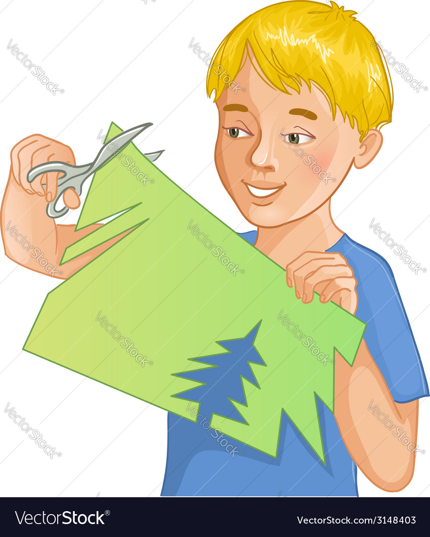 Boy is cutting color paper with scissors vector | Price: 1 Credit (USD $1)