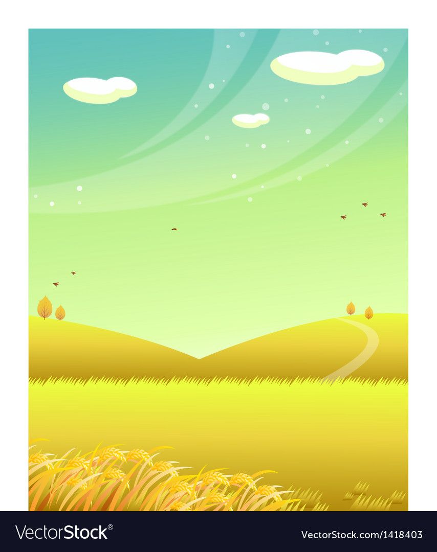 Mountains wheat field vector | Price: 1 Credit (USD $1)