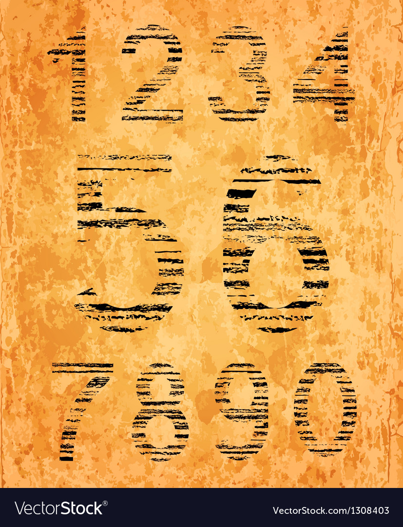 Number set from black coal texture vector   Price: 1 Credit (USD $1)