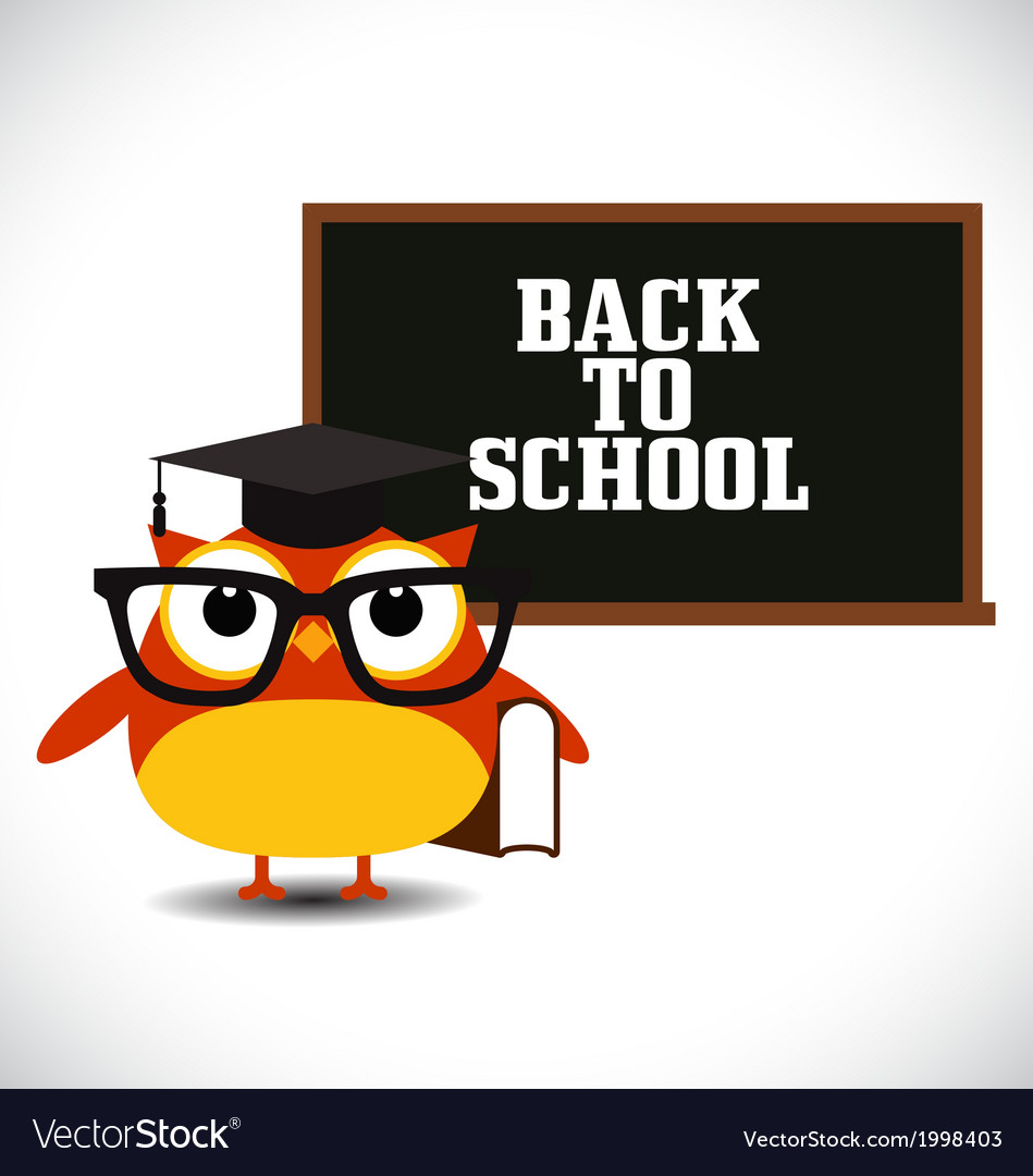 Owl with blackboard vector | Price: 1 Credit (USD $1)