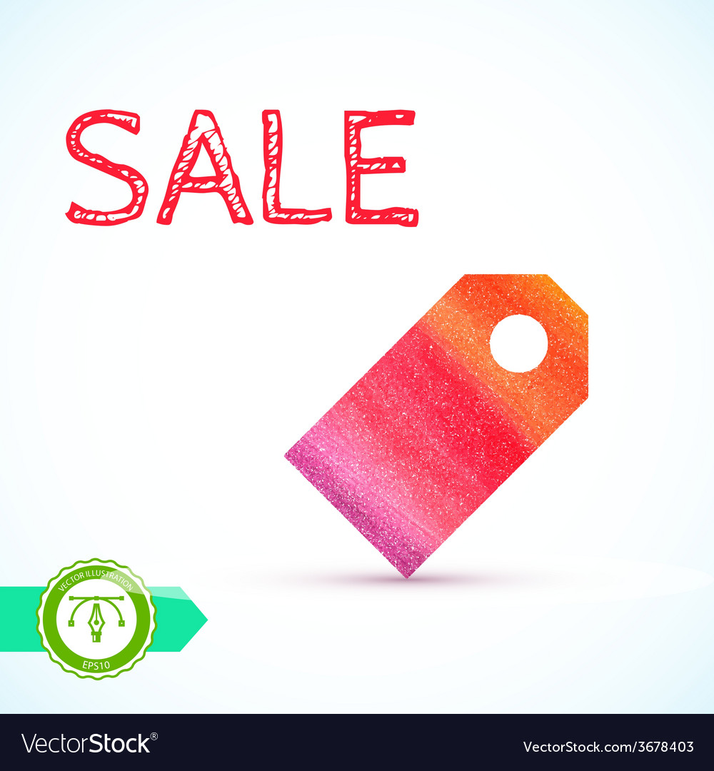 Sale watercolor price tag vector | Price: 1 Credit (USD $1)