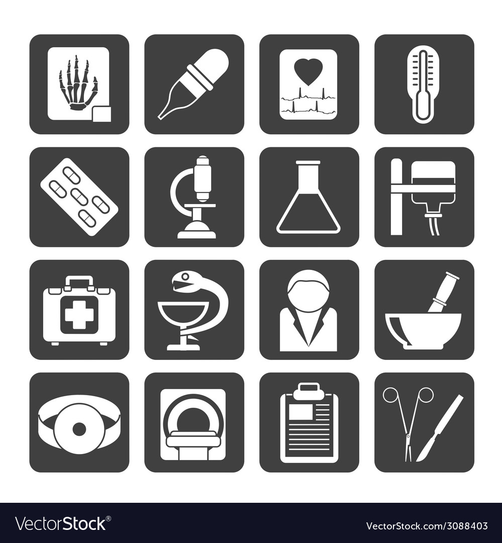 Silhouette healthcare and medicine icons vector | Price: 1 Credit (USD $1)