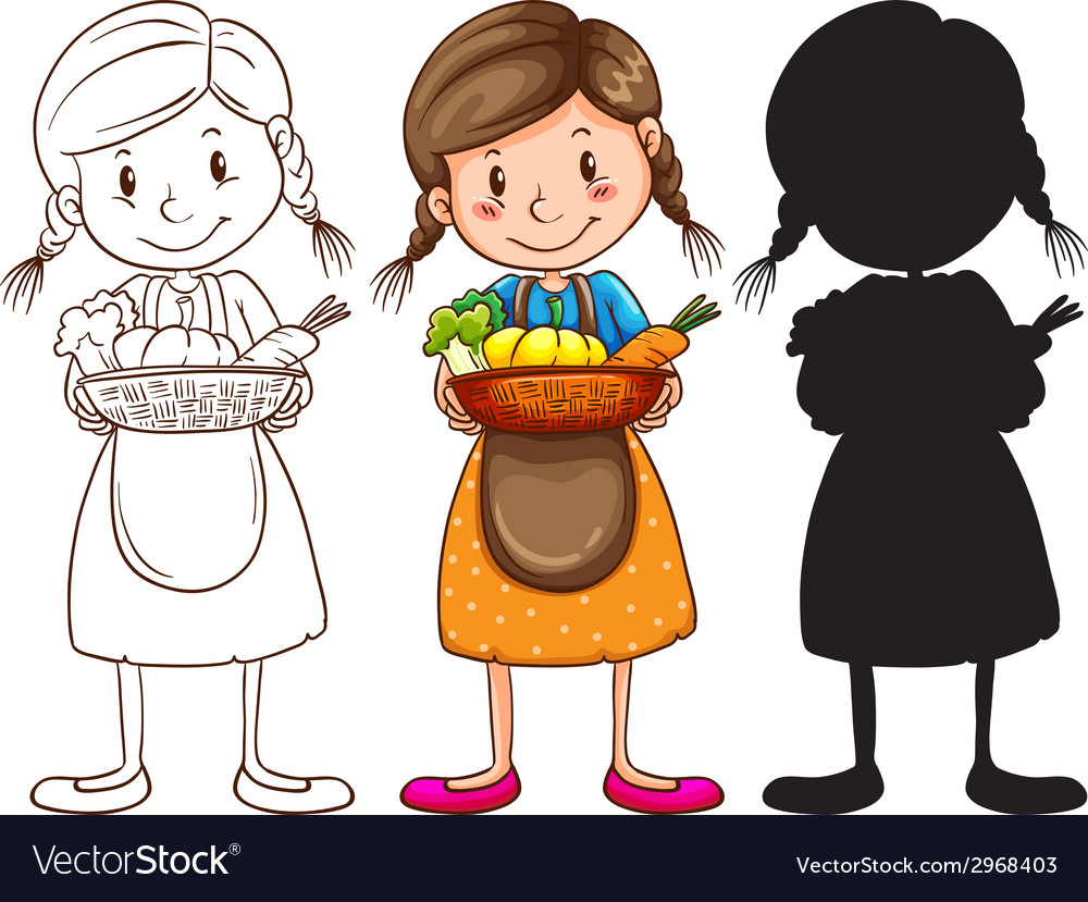 Sketches of a young girl with a basket of fruits vector | Price: 1 Credit (USD $1)