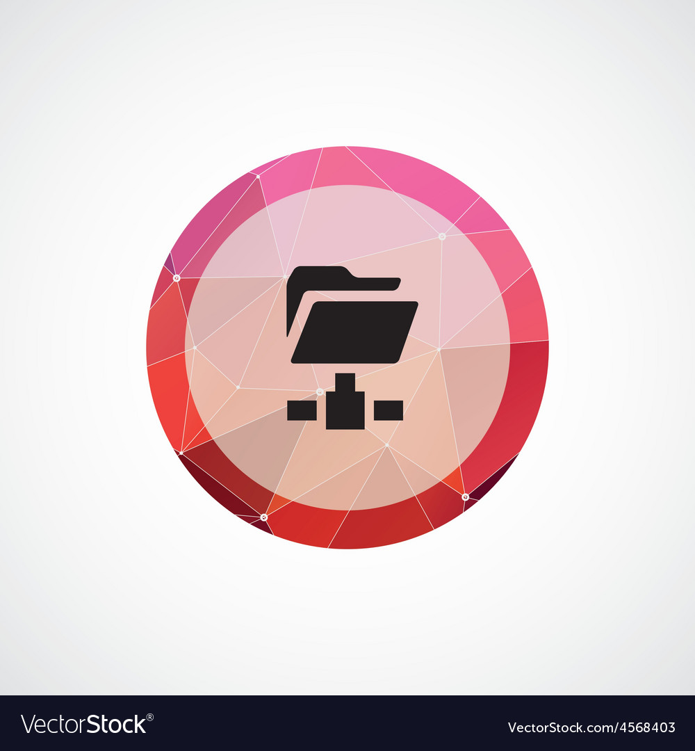 Web folder circle pink triangle background icon vector | Price: 1 Credit (USD $1)