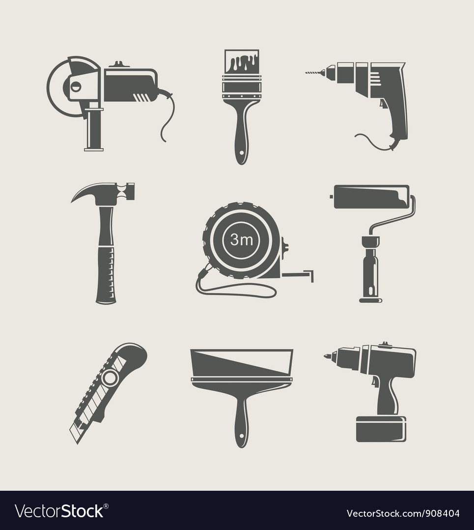 Building tool icon set vector | Price: 3 Credit (USD $3)