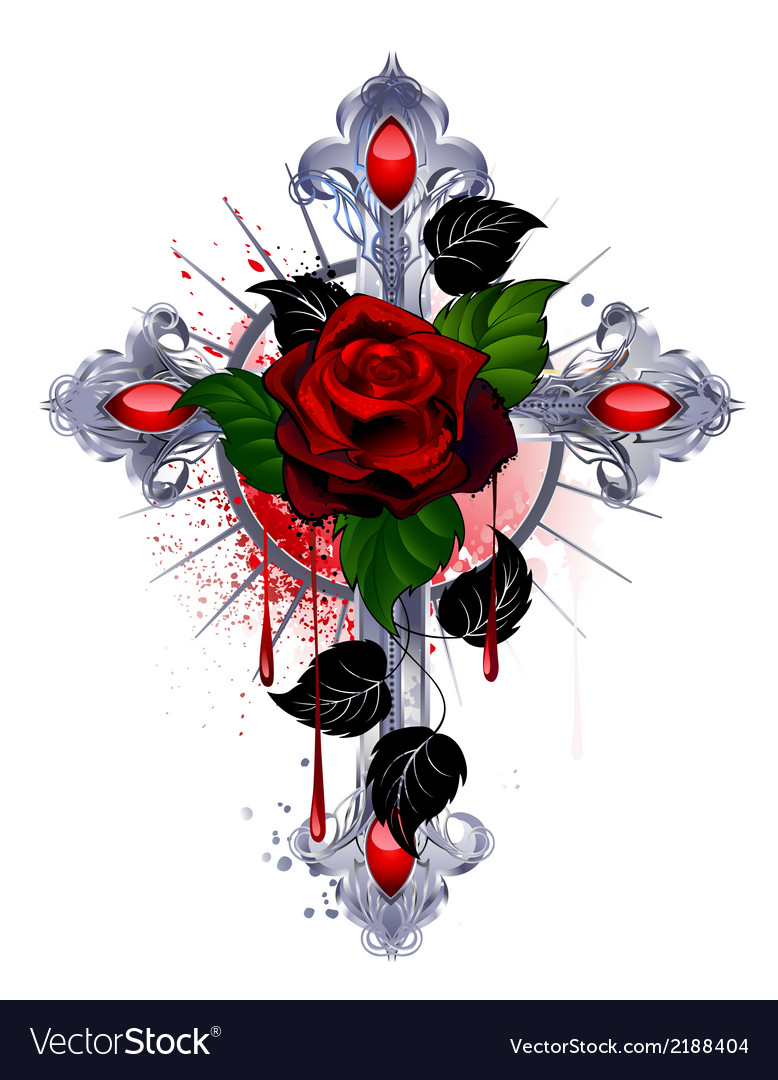 Cross with a red rose vector | Price: 1 Credit (USD $1)