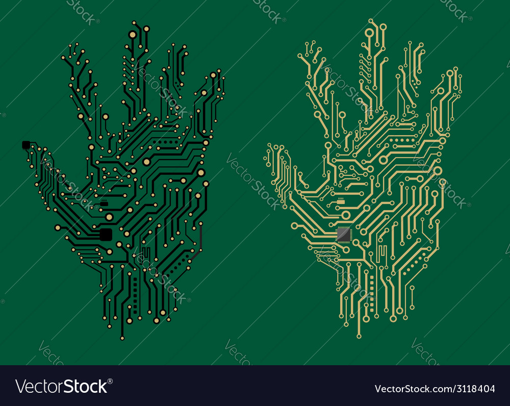 Hand prints with electrical circuit boards vector | Price: 1 Credit (USD $1)