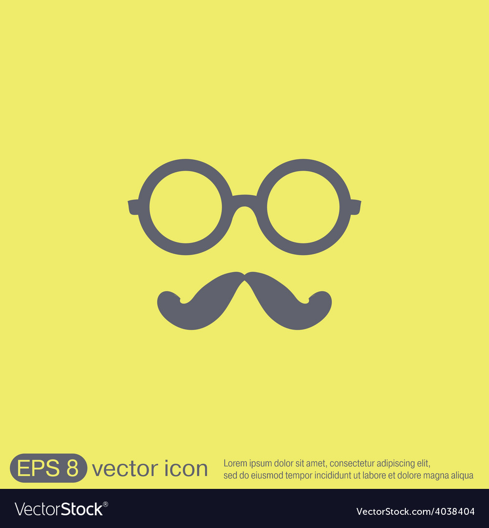 Mustache and glasses hipster icon symbol vector | Price: 1 Credit (USD $1)