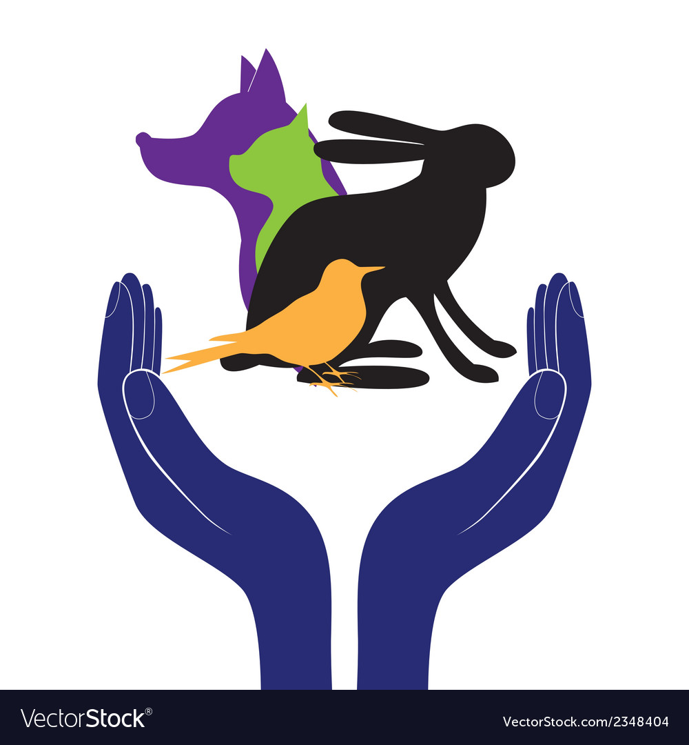 Pet protection sign hand in people encouragement h vector | Price: 1 Credit (USD $1)