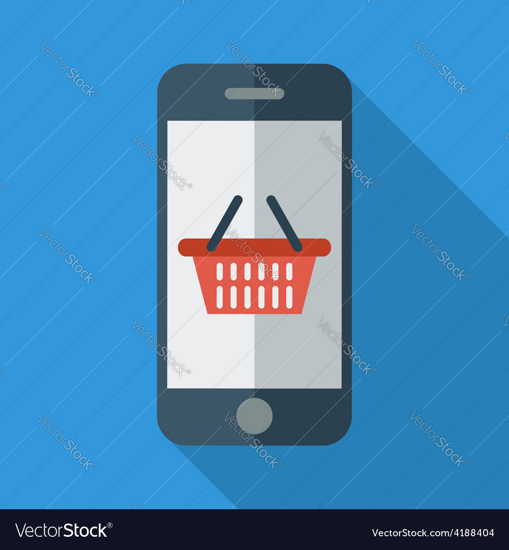 Phone with shopping basket vector | Price: 1 Credit (USD $1)