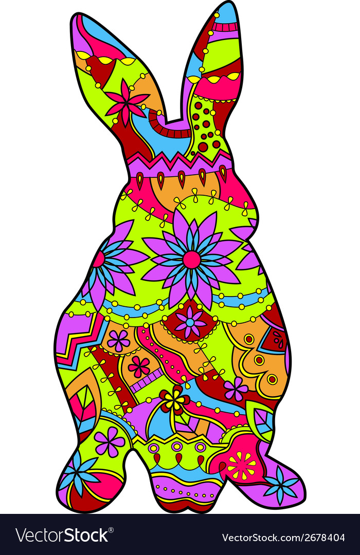 Rabbit in easter colors vector | Price: 1 Credit (USD $1)