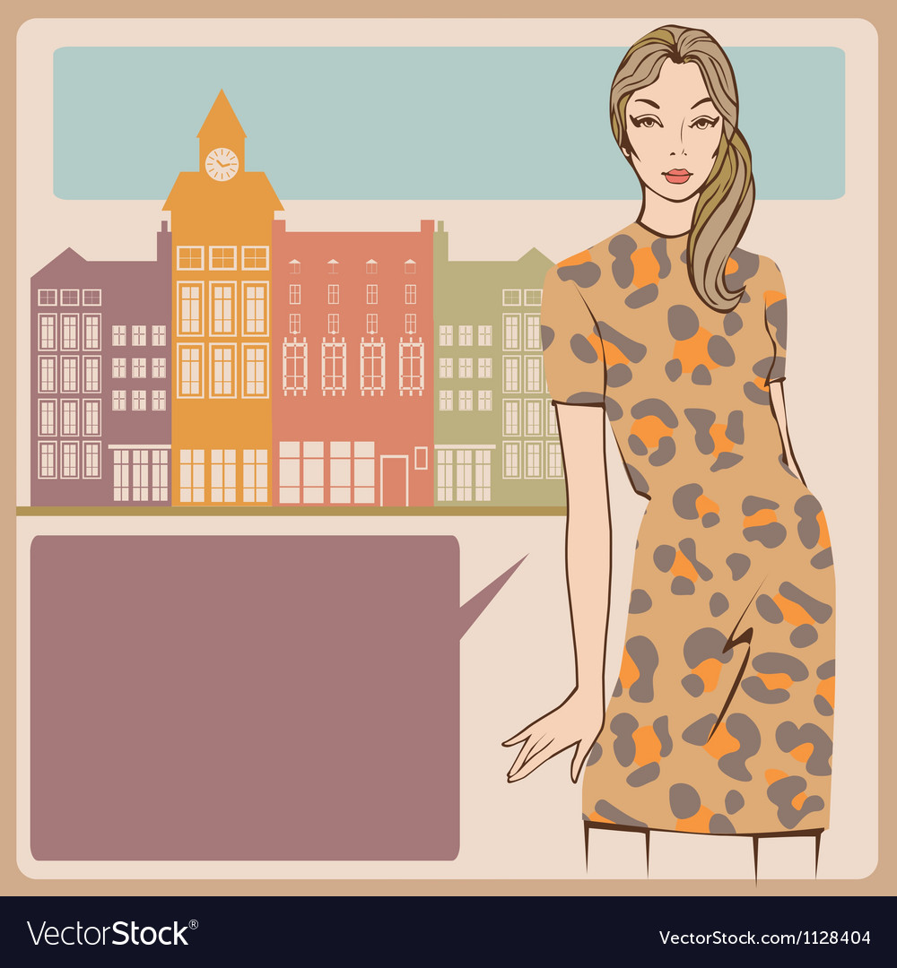 Young girl leopard dress post card vector | Price: 1 Credit (USD $1)