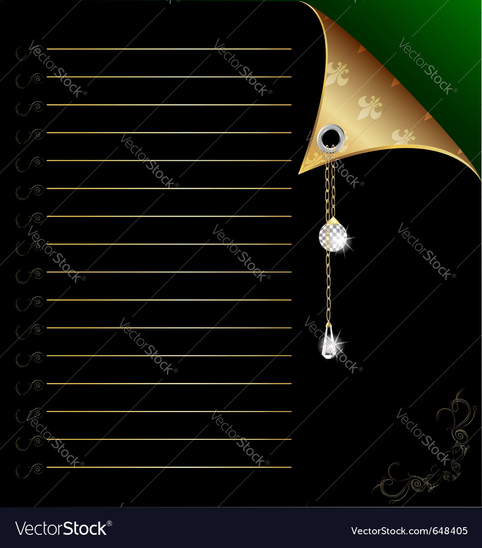 Black-green paper with gold corner and crystal vector | Price: 1 Credit (USD $1)
