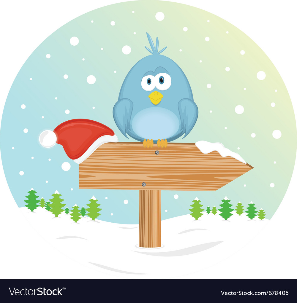 Blue bird on the waymark vector | Price: 3 Credit (USD $3)