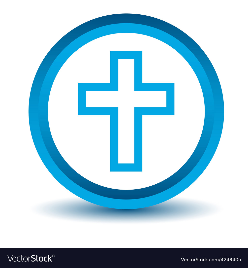 Blue protestant cross icon vector | Price: 1 Credit (USD $1)