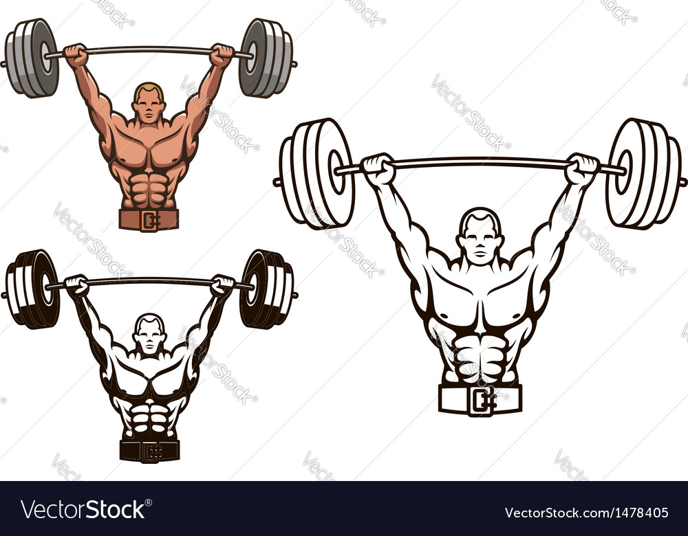 Bodybuilder with barbell vector | Price: 1 Credit (USD $1)