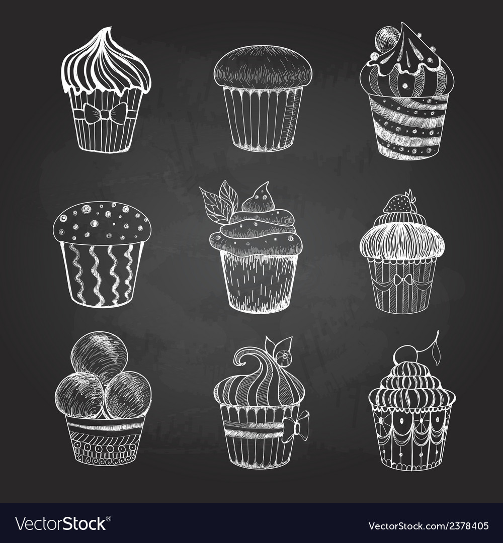 Chalk drawing set of cakes vector | Price: 1 Credit (USD $1)