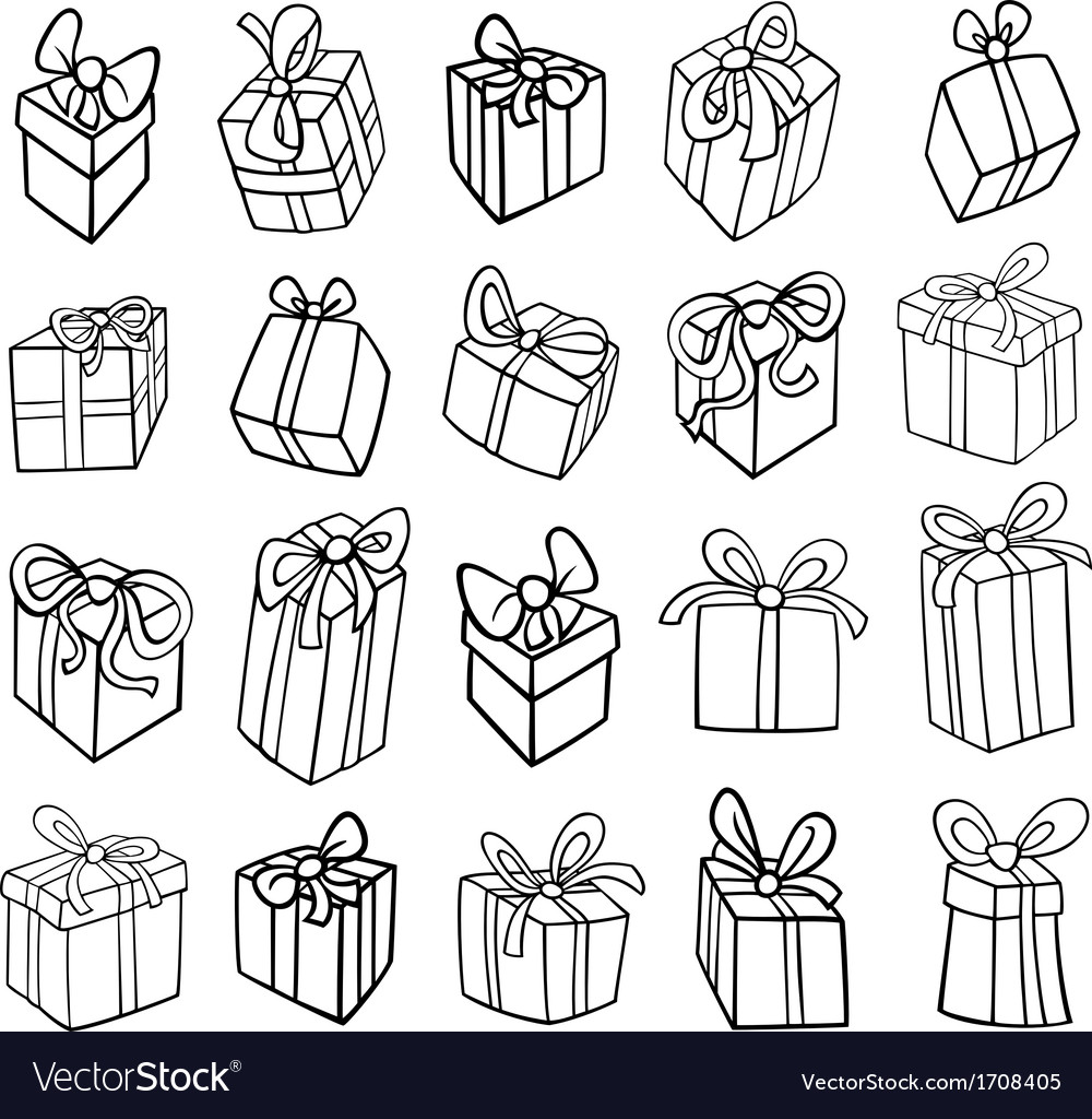 Christmas or birthday gifts coloring page vector | Price: 1 Credit (USD $1)