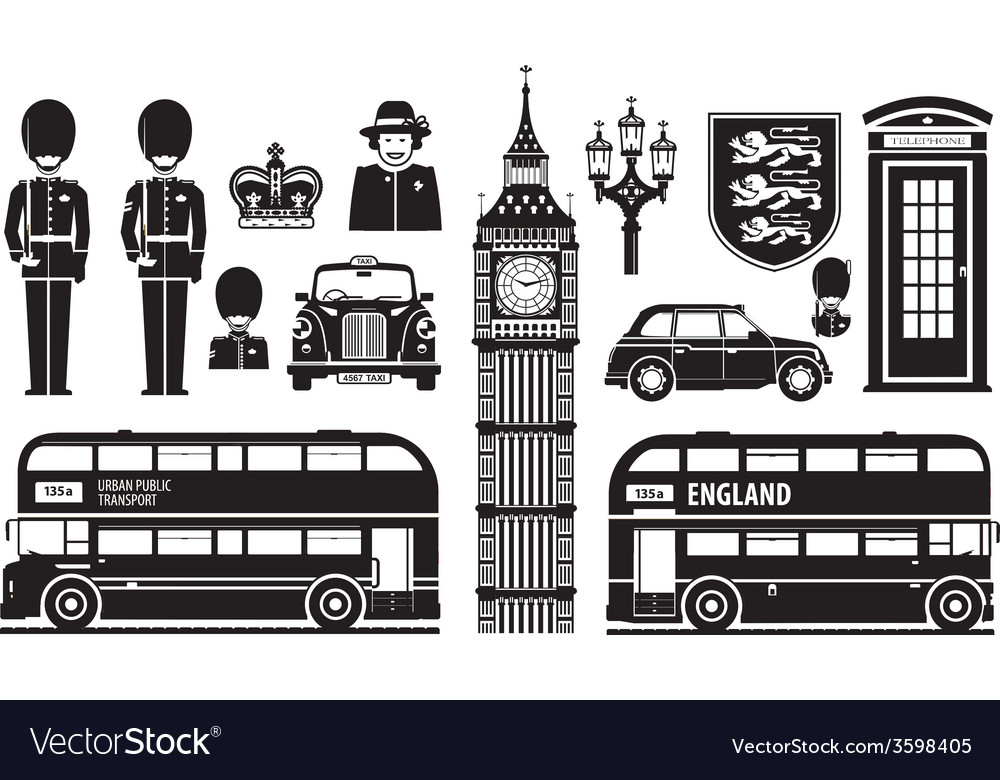 England london uk set of icons vector | Price: 1 Credit (USD $1)