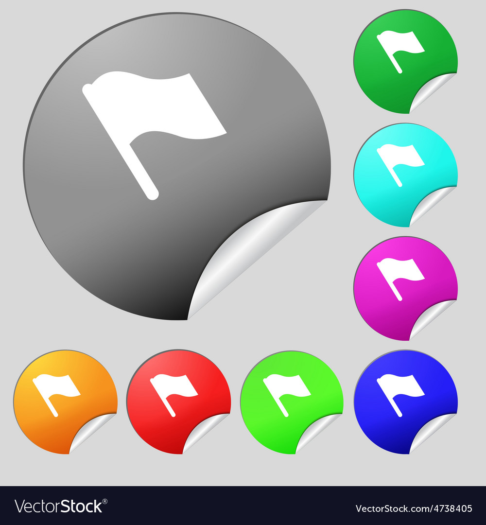 Finish start flag icon sign set of eight vector | Price: 1 Credit (USD $1)