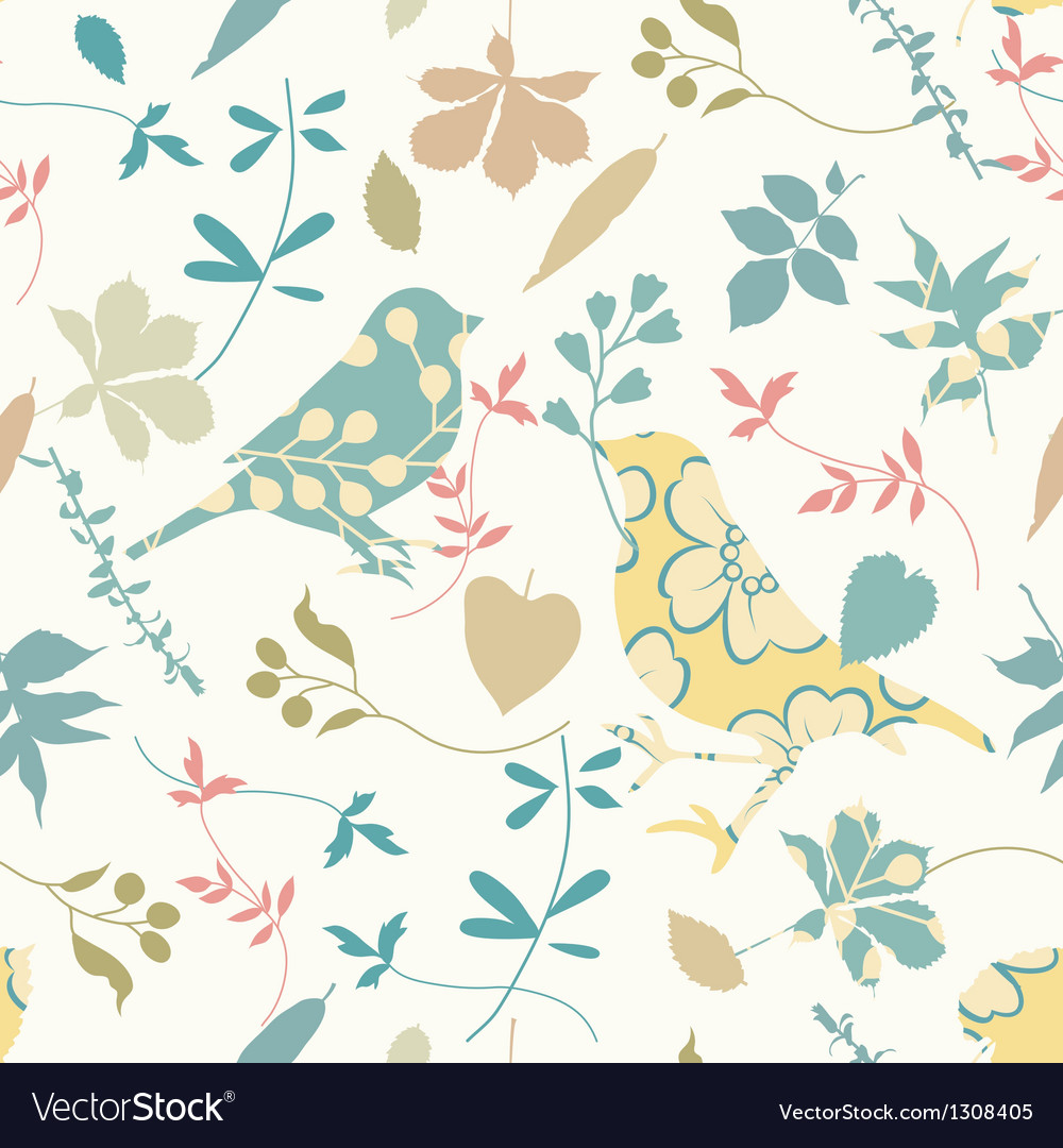 Floral seamless with birds vector | Price: 1 Credit (USD $1)