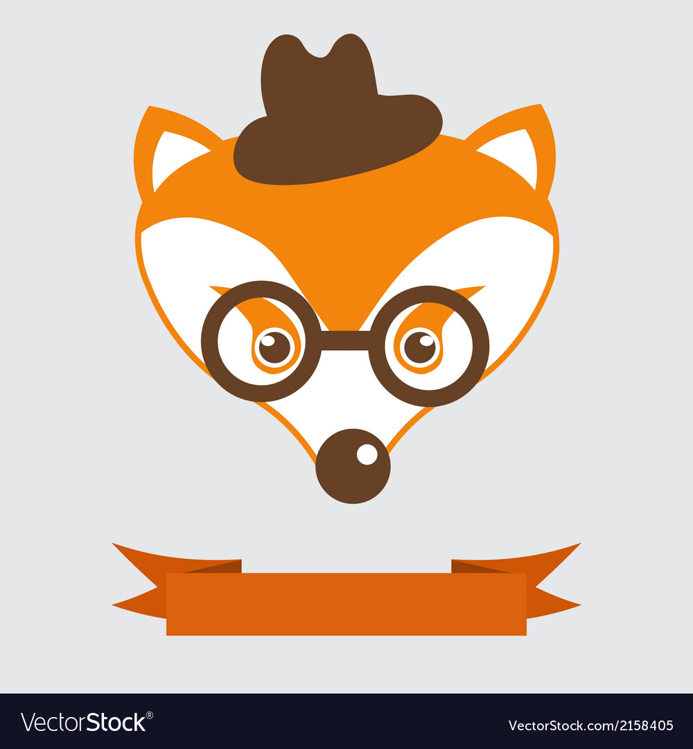 Fox in bowler hat and monocle vintage style vector | Price: 1 Credit (USD $1)