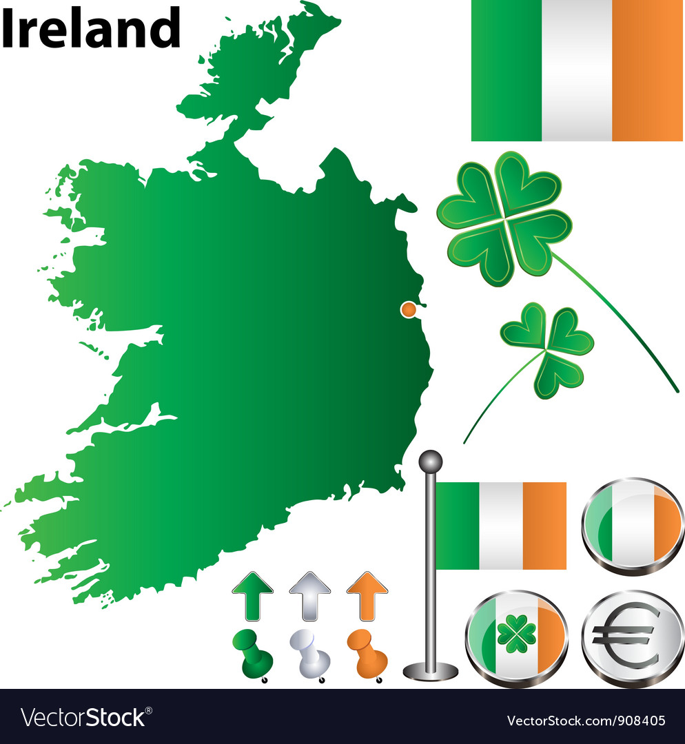 Ireland map small vector | Price: 1 Credit (USD $1)