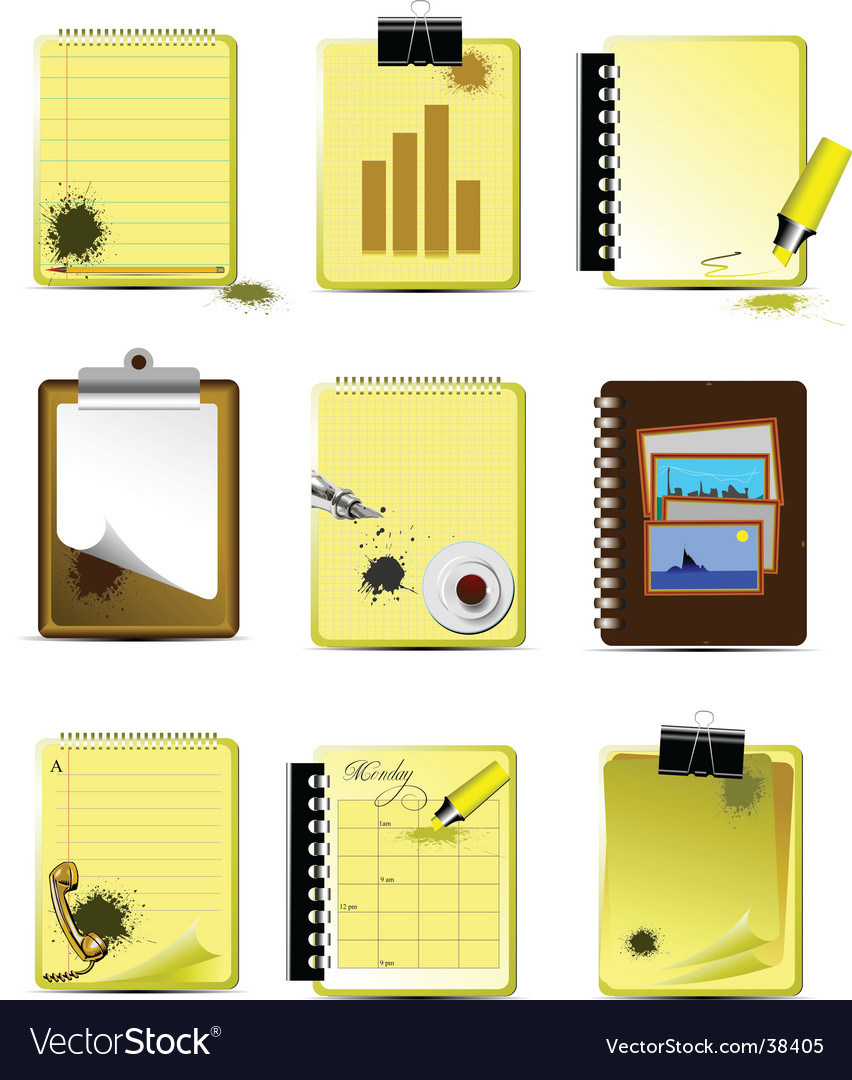 Office icons set vector | Price: 3 Credit (USD $3)