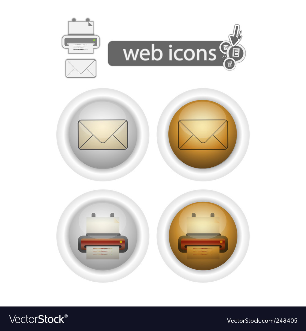 Print and mail web icons vector | Price: 3 Credit (USD $3)