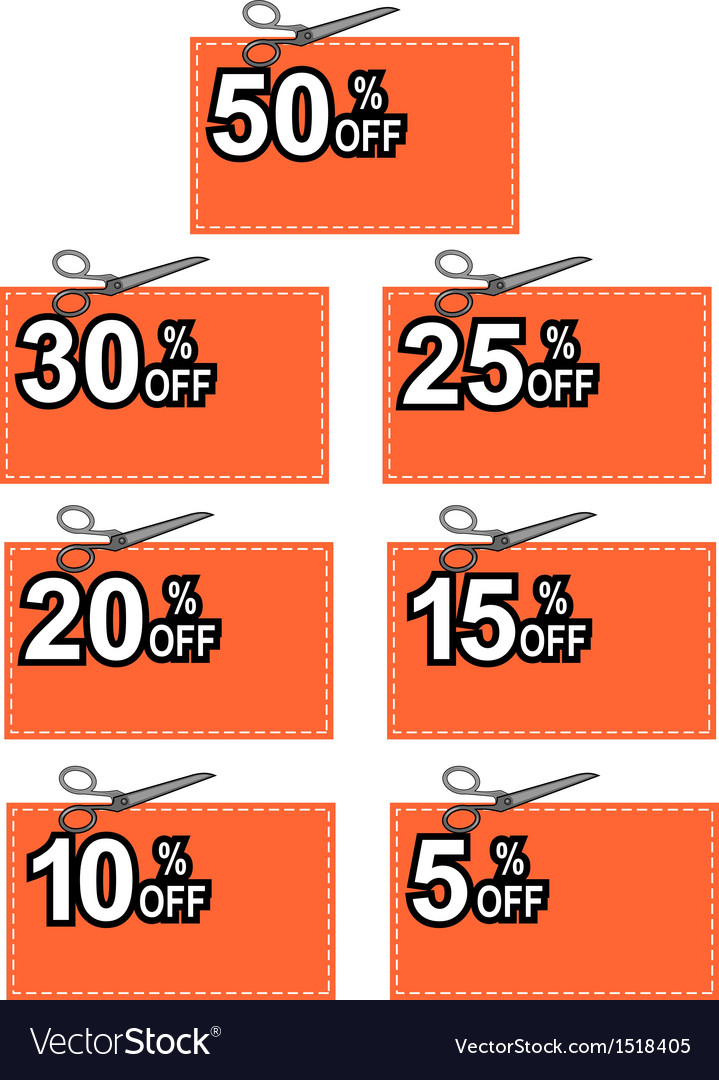 Scissors cutting coupon per cent sign vector | Price: 1 Credit (USD $1)