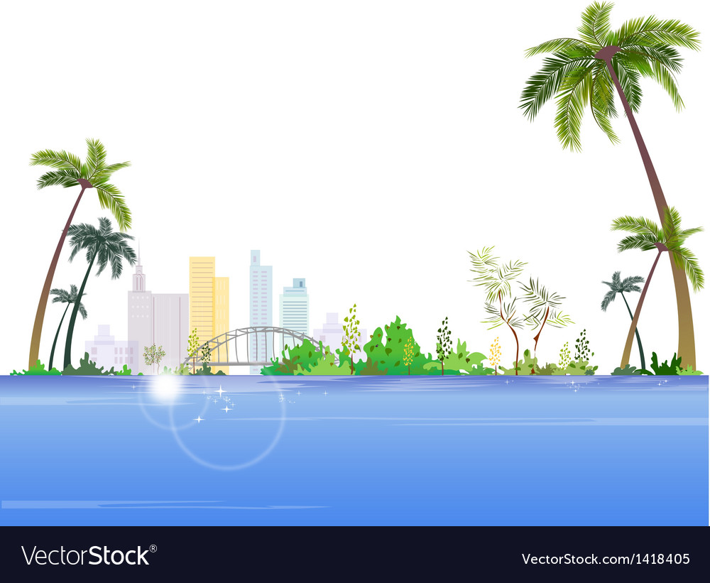 Seaside cityscape view vector | Price: 1 Credit (USD $1)