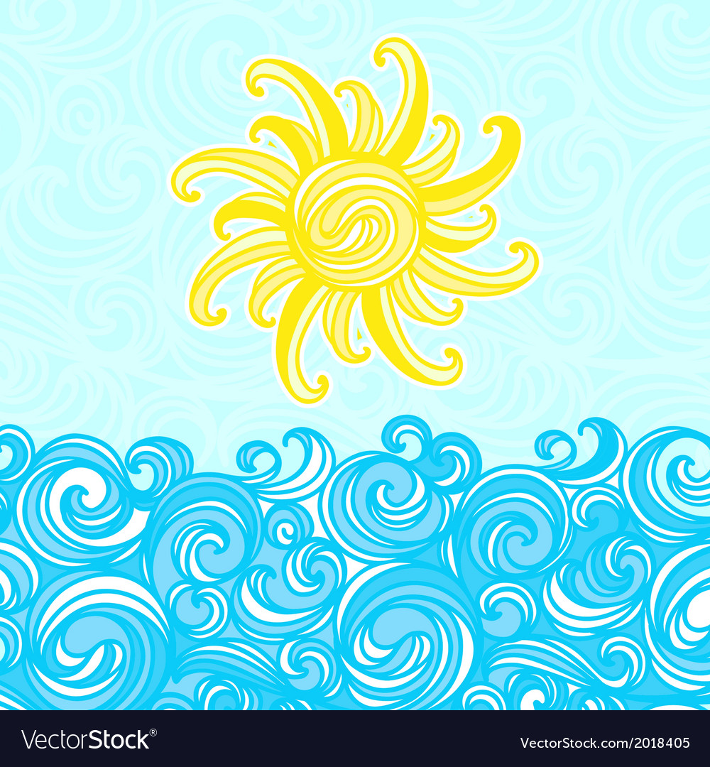 Summer background sea sun waves vector | Price: 1 Credit (USD $1)