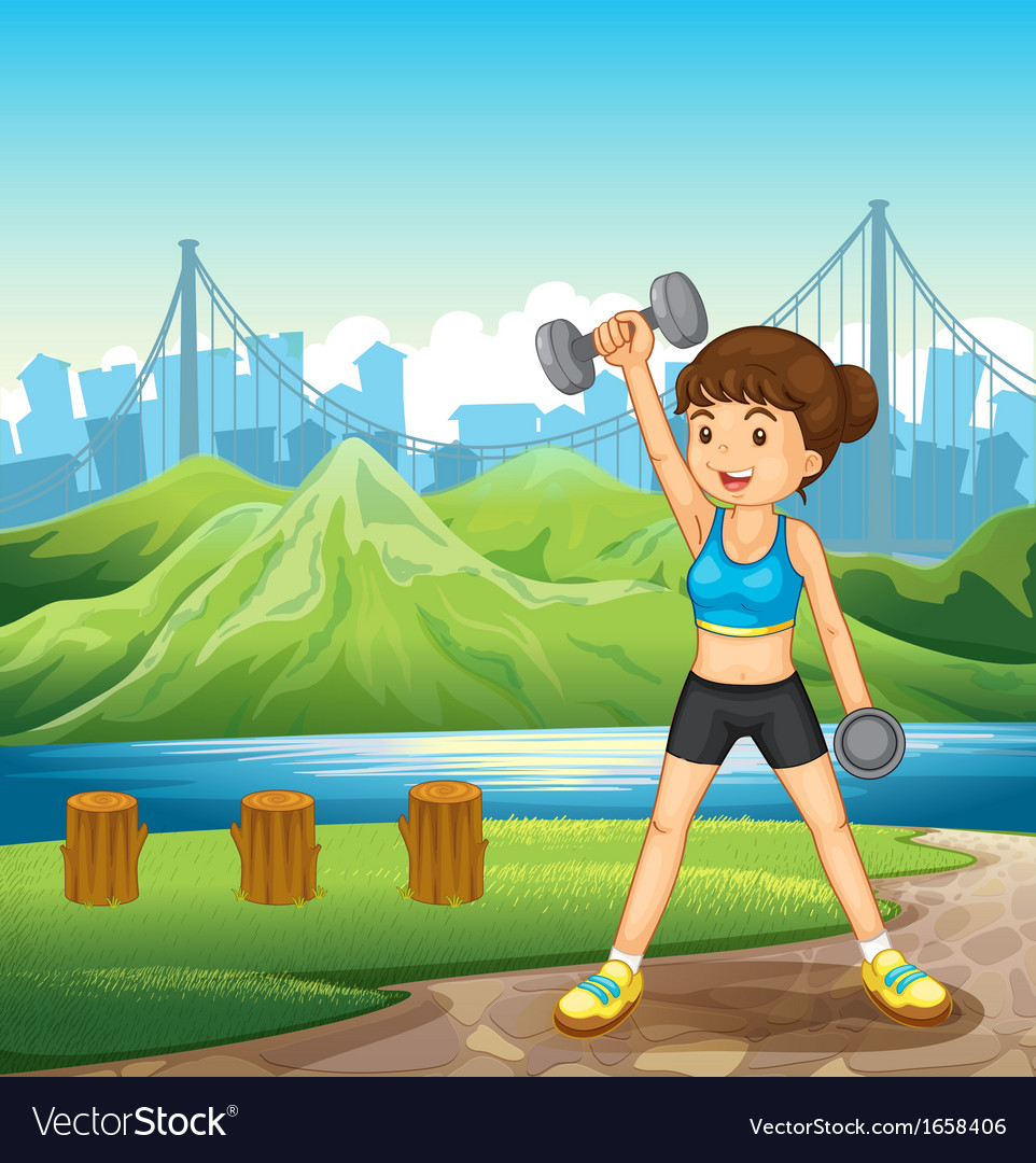 A lady exercising near the river vector | Price: 3 Credit (USD $3)