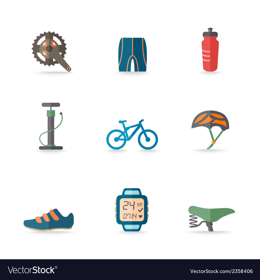 Bike icons flat vector | Price: 1 Credit (USD $1)
