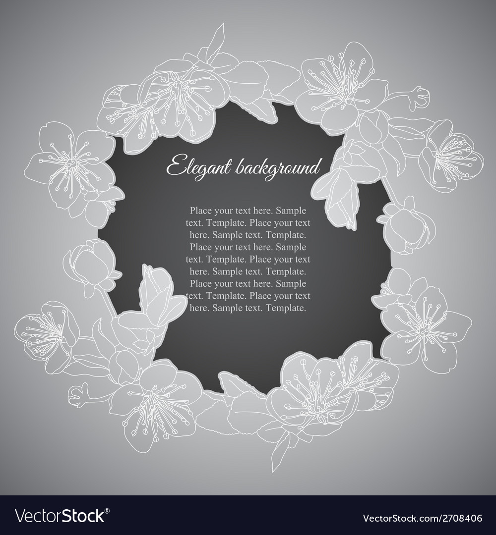 Elegant frame with branch of apricot flowers vector | Price: 1 Credit (USD $1)