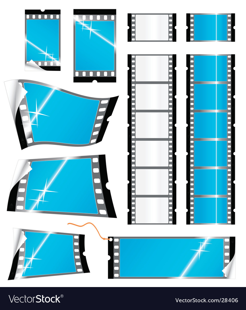 Film strip tags and stickers vector | Price: 1 Credit (USD $1)