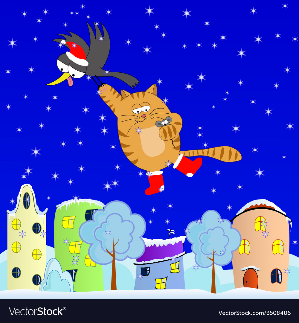 Flying cat vector | Price: 1 Credit (USD $1)