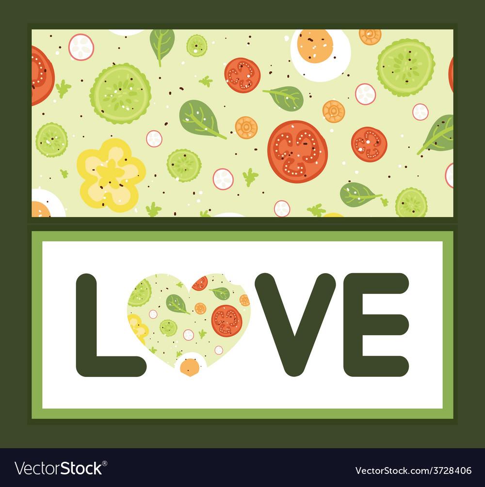 Fresh salad love text frame pattern vector | Price: 1 Credit (USD $1)