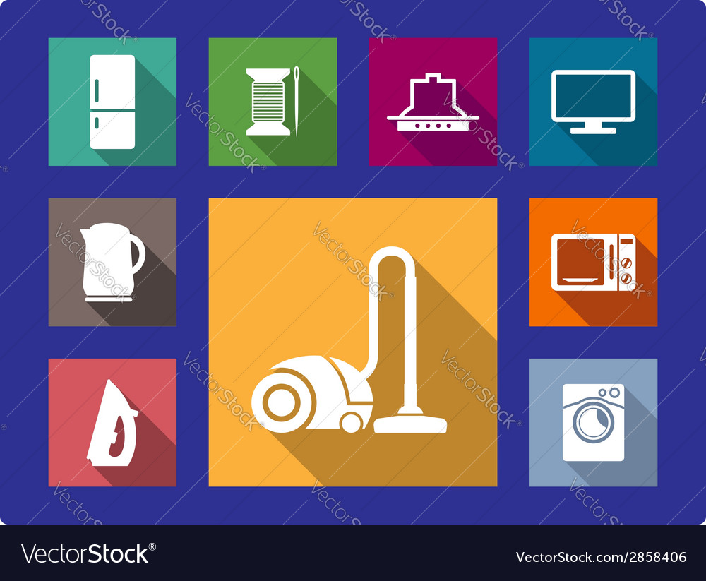 Household equipment flat icons set vector | Price: 1 Credit (USD $1)
