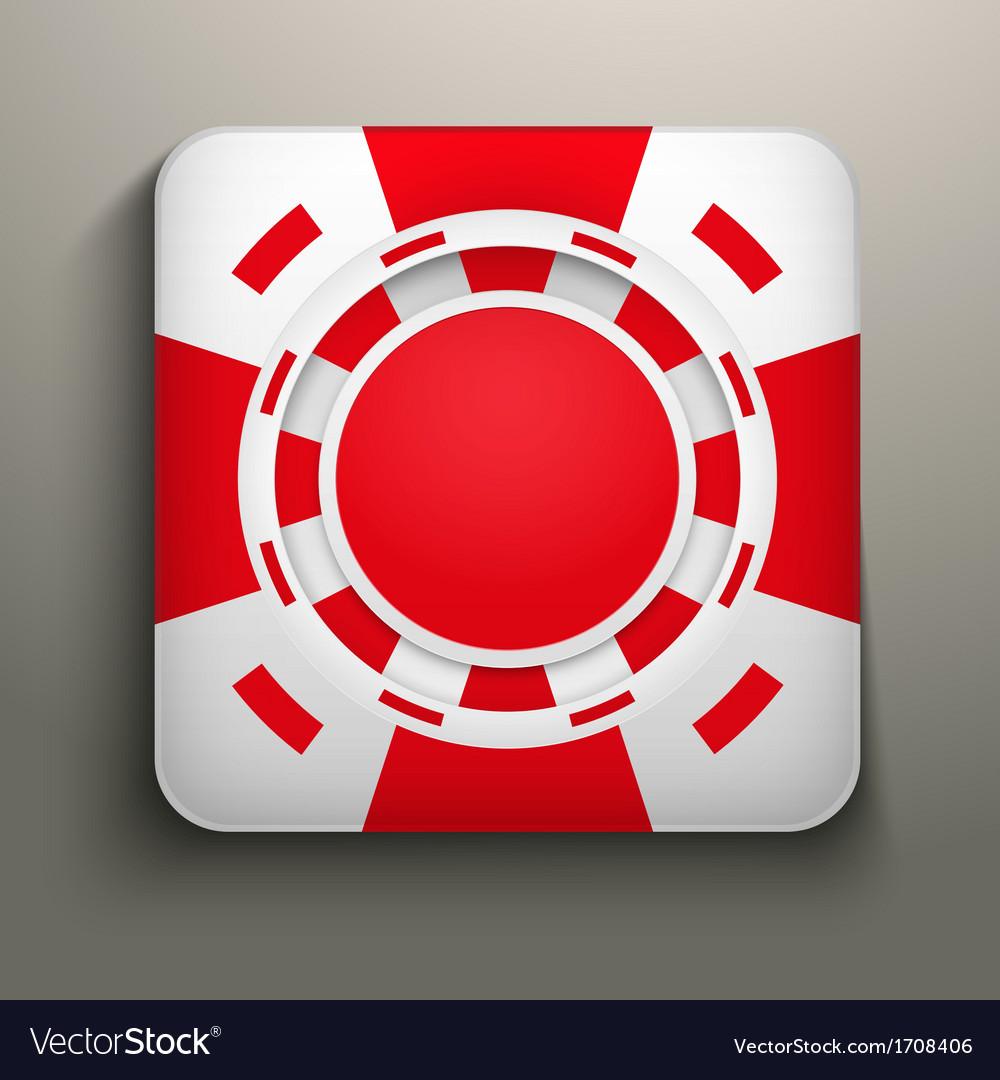 Square icon red casino chips vector | Price: 1 Credit (USD $1)