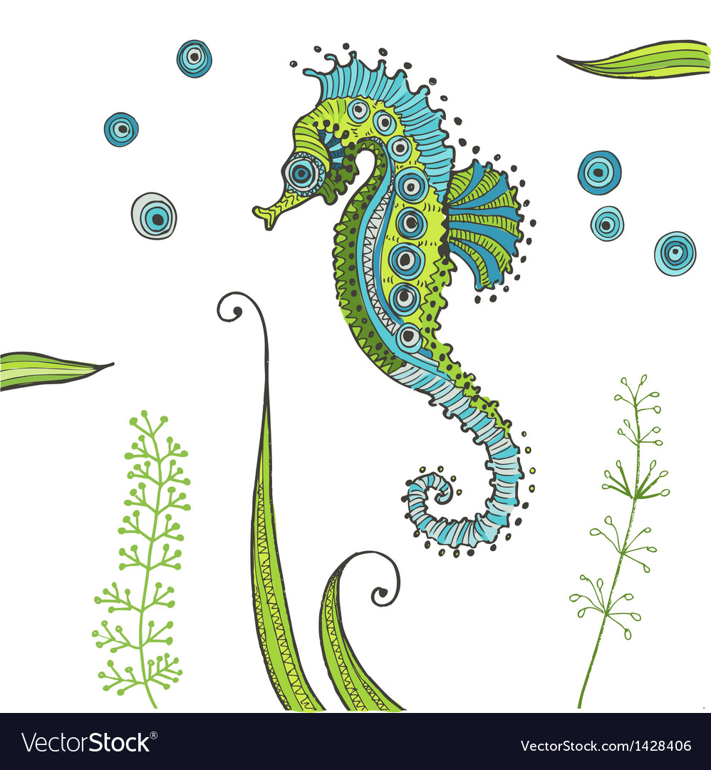 Tropical seahorse background vector | Price: 3 Credit (USD $3)