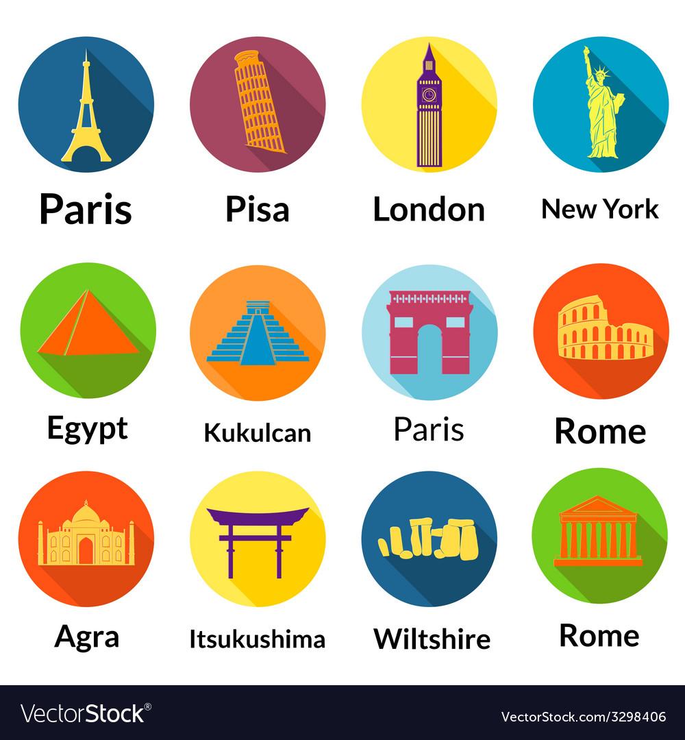 World landmarks vector | Price: 1 Credit (USD $1)