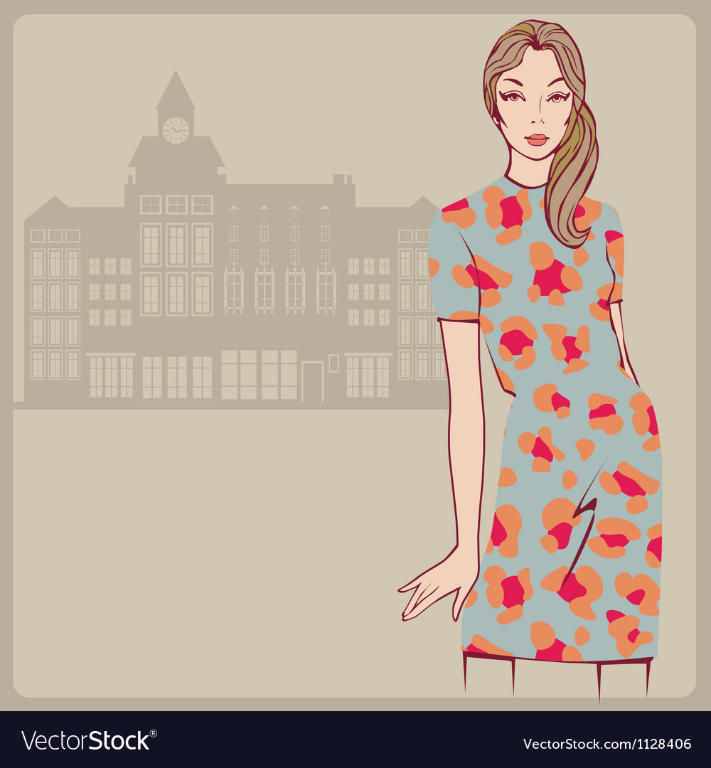 Young girl leopard dress vector | Price: 1 Credit (USD $1)
