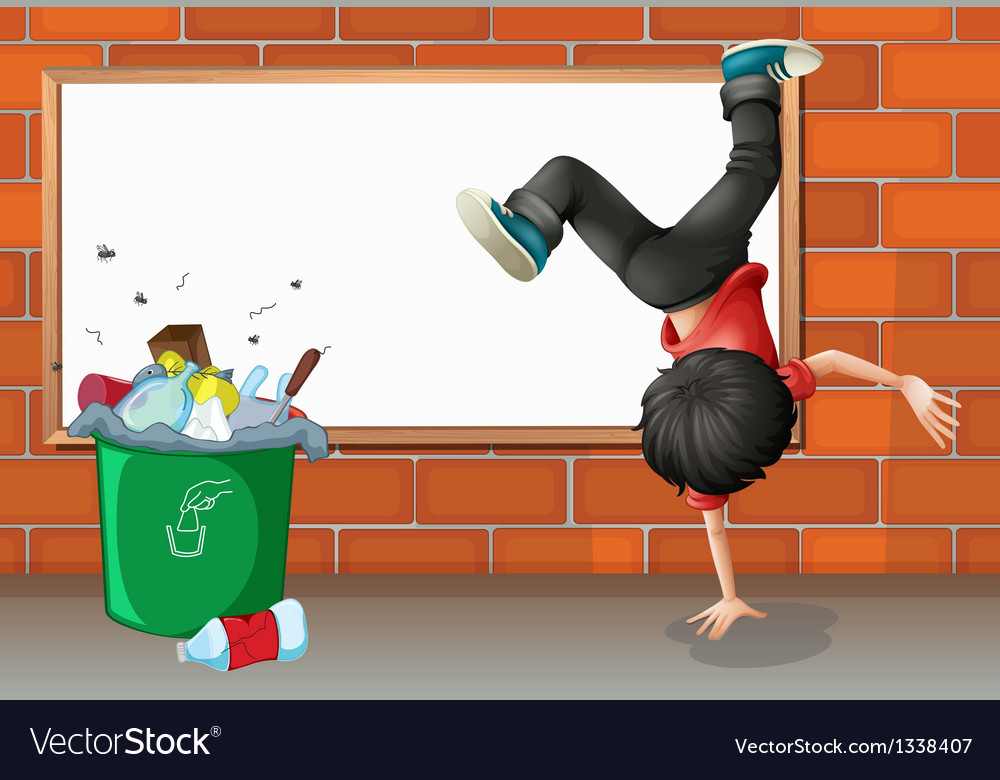 A boy breakdancing near a trash can with an empty vector | Price: 1 Credit (USD $1)